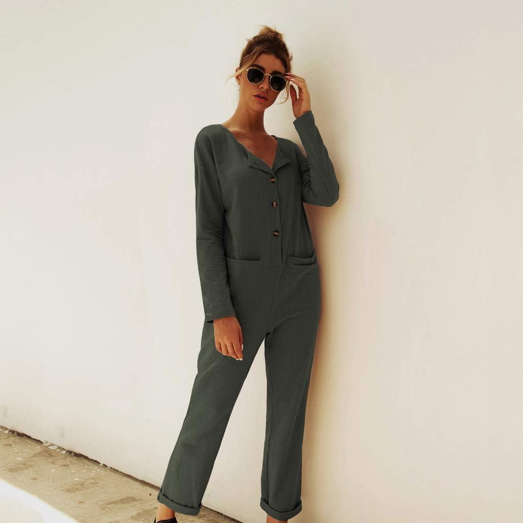 Finebo Femme Combinaison Chic Manche Longue Droite Mode Pantalons Longue Combishort Salopette Sarouel Jumpsuit