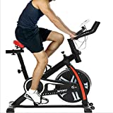 Indoor Exercise Bike Spinning Cycling Bike Stationary W/LCD Display Heart Rate Adjustable Foot Fitness Equipment