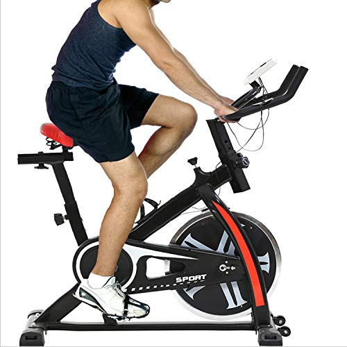 Indoor Exercise Bike Spinning Cycling Bike Stationary W/LCD Display Heart Rate Adjustable Foot Fitness Equipment,Black