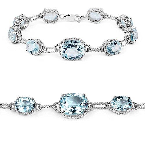 24.70 Carat Genuine Blue Topaz .925 Sterling Silver Bracelet