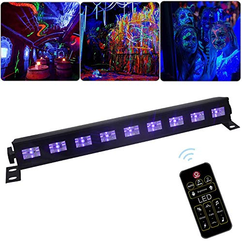 (Lesgos UV LED Black Light Bar, Black Light 27W 9 LED UV Bar Glow Blacklight 396nm Glow in The Dark Party Supplies with Remote Control for Christmas Blacklight Birthday Wedding)