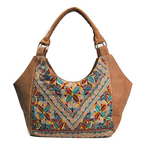 san francisco 3afc3 8f0a6 Tela La Bolso Vendimia Pu Mujer De Wy ayng Bordado Brown Marrón brown q460a0
