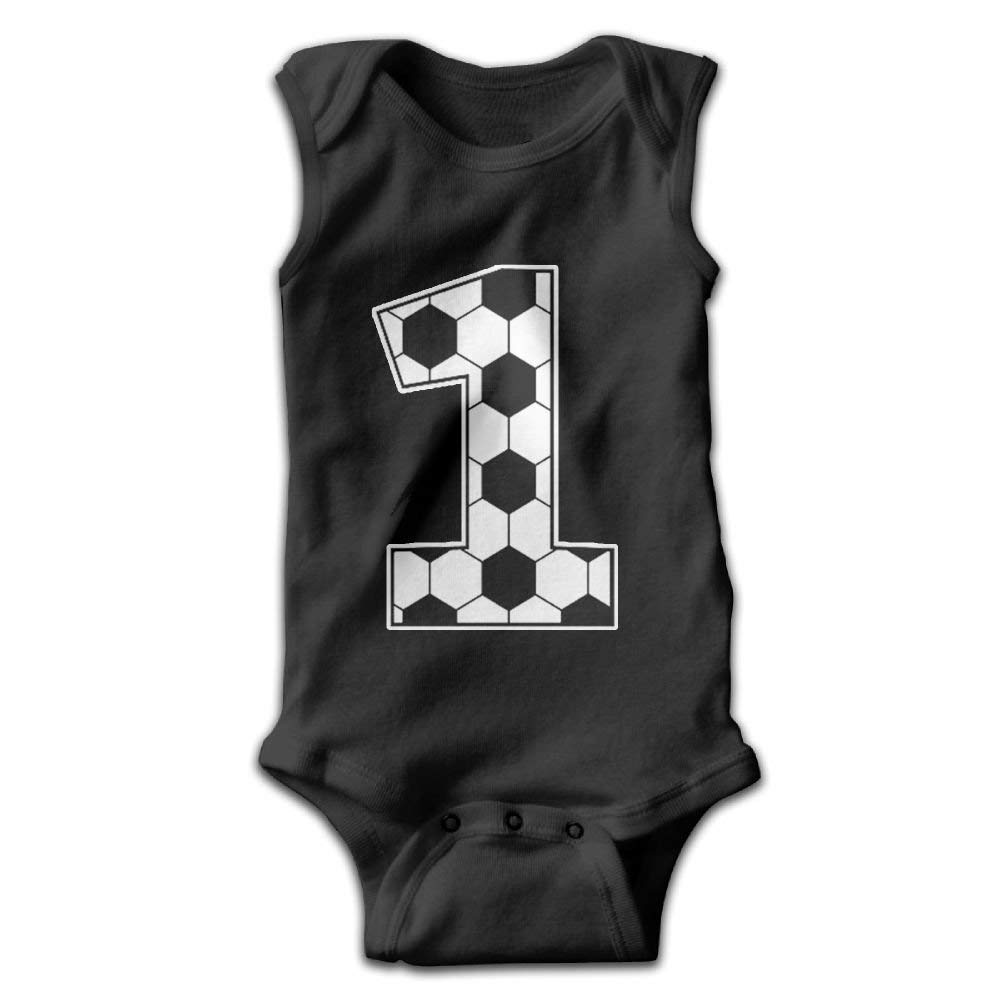 LONGTOU 1st Birthday Gift for Soccer Fan Infant Baby Sleeveless Bodysuit Romper