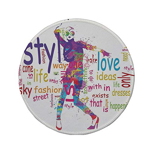Non-Slip Rubber Round Mouse Pad,Fashion House Decor,Stylish Woman Figure with Colorful Stains Love Dresses Happiness Theme,Purple -