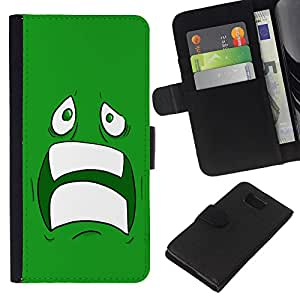 A-type (Enfriar Sad Face Asustado Ugly Dientes Miedo verde de la historieta) Colorida Impresión Funda Cuero Monedero Caja Bolsa Cubierta Caja Piel Card Slots Para Samsung ALPHA G850