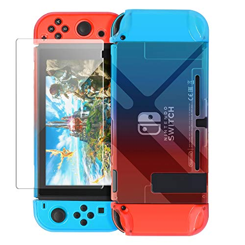 Dockable Cover Case Compatible with Nintendo Switch,Protective Case Compatible Nintendo Switch with Screen Protector Compatible Nintendo Switch - Blue Red