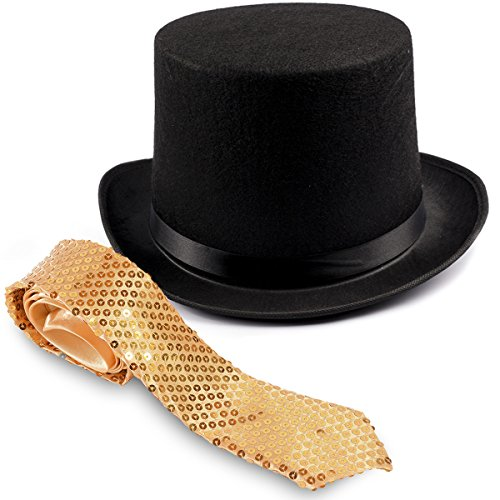 Ringmaster Costume - Circus Costumes - Magician Hat - Top Hat w/ Gold Necktie by Funny Party Hats (Ladies Circus Costumes)