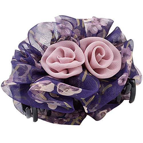 Large Handmade Pure Colour Rose Flowers Plastic Claw Jaw Hair Clip - Victorian Print Lee