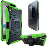 ZTE Quartz Z797C Case, ATUS® ZTE Quartz Z797C Armor Series - Heavy Duty Dual Layer Holster Case Kick Stand with Locking Belt Swivel Clip (Free E-Time Brand LCD Screen Protector + Stylus Pen Included) (BLACK/GREEN)
