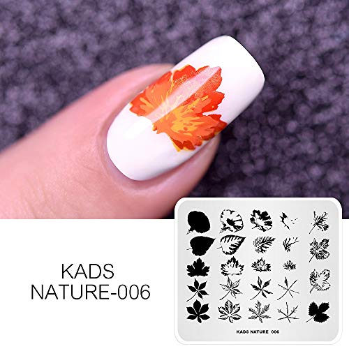 KADS Templates for Nails Leaf Nature Fall Stamping Plates Image Plates for Manicure DIY Nail Art (NA006)