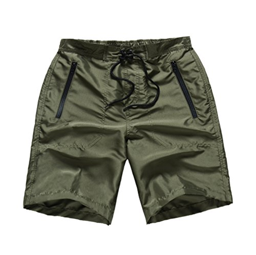 MADHERO Men Board Shorts No Mesh Swim Trunk Zipper Pockets Swimwear - S ()