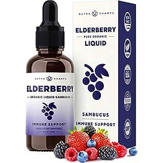 Organic Elderberry Syrup [Double Strength] Liquid Extract for Kids & Adults - Immune Support & Seasonal Protection - Vegan Sambucus Nigra Antioxidant Drops Supplement - Berry Flavor 2oz