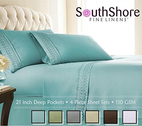 Southshore Fine Linens 4-piece 21 Inch Deep Pocket Sheet Set with Beautiful Lace - SKY BLUE - Queen