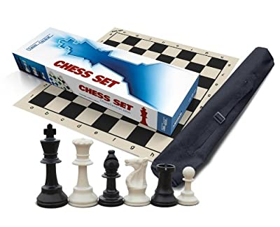 Premium Chess Set for Schools, Clubs and Tournaments, Triple Weighted Chess Pieces (2 extra Queens), Black Roll-Up Vinyl Chess Board, Black Canvas Tote Bag and Instructions on How to Play Chess