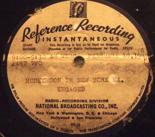 WNBC Radio Programme ''Honeymoon in New York'' Original Transcription Disc Set. (1947)