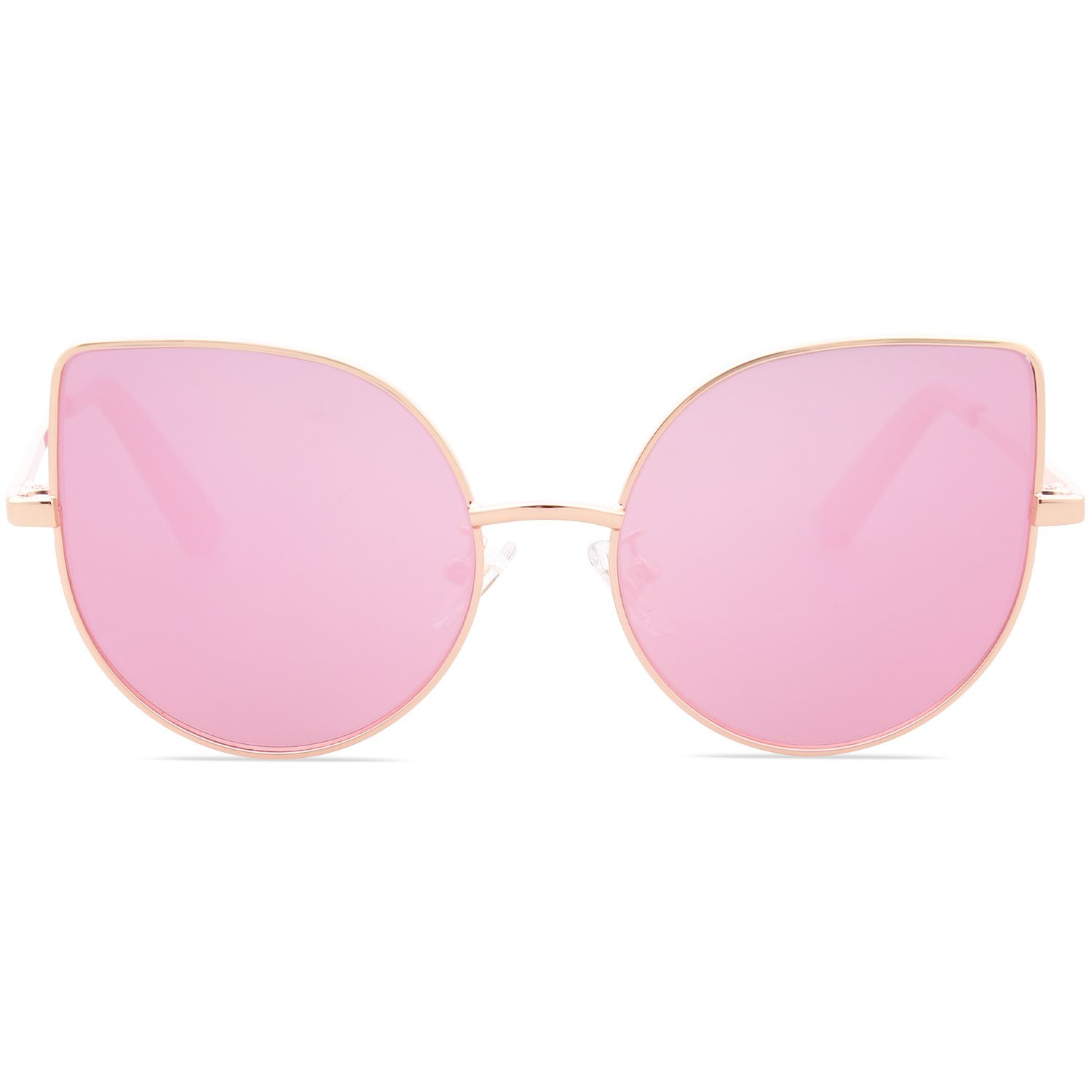 SojoS Kids Fashion Cat Eye Round Sunglasses For Girls UV Protection Mirror Lens SK101 SK301 SK302 SK303 with Gold Frame/Full Pink Mirrored Lens