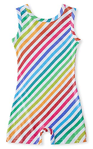 (BFUSTYLE Graphic Printed Gymnastics Leotard Colorful Rainbow Stripes Camisole Ballet Dancewear Patterned Biketard Bodysuits for 3 Years old Child Teens Kids Teenager Girl)