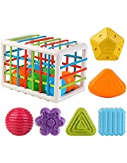 Baby Shape Sorting Toy Sensory Shape Sorting Toys with Elastic Bands Colorful Shapes Sorter Sorting for Ages 24 Months and Up(12PCS)