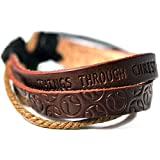 Baseball Leather Bracelet Phil 4:13 I can do all things