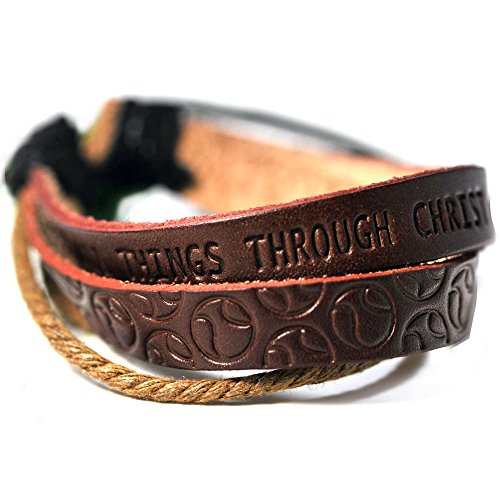 FORGIVEN JEWELRY Softball Stamped Leather Bracelet Phil 413 I Can Do All Things Through Christ