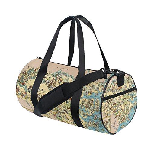 Vintage 1935 North Carolina State Map Travel Duffel Shoulder Bag ,Sports Gym Fitness Bags