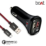boAt Dual Port Rapid Car charger (Qualcomm Certified) with Quick Charge 3.0 + Free Micro USB Cable- (Black)