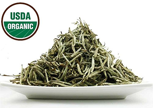 Organic Silver Needle White Tea - Organic Silver Needle White Tea, Premium White Tea Natural Loose leaf Tea All Young Buds 1 OZ