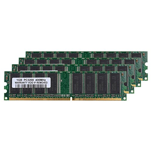 SODIAL(R) 4GB Kit (4x 1GB) DDR1-400MHz PC Desktop Memory PC1-3200 184pin Non-ECC DIMM Ram,green