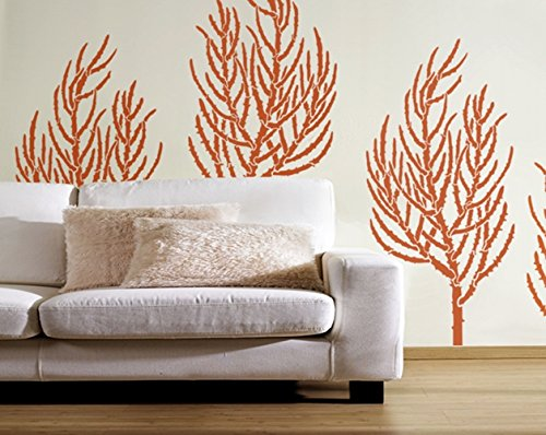 (Coral Wall Stencil - Staghorn Coral Large - Reusable DIY Wall art Decor - Check out our other Sea Creature ocean stencils! More fun than decals!)