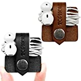 TOPHOME Cord Organizer Holder Headset Headphone Earphone Wrap Winder/ Cord Manager Cable Winder/ USB Cords/ Charging Cables/ Cord Management Keeper with Genuine Leather Handmade Black&Brown Pack 2 Pcs