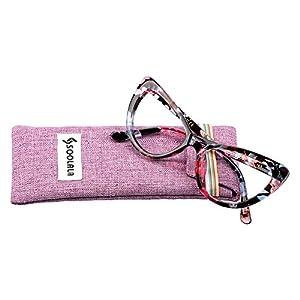 SOOLALA Womens Oversized Fashion Cat Eye Eyeglasses Frame Large Reading Glasses, Floral, +1.75D