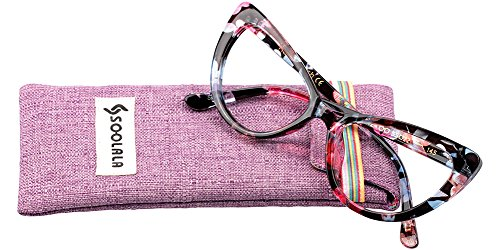SOOLALA Womens Oversized Fashion Cat Eye Eyeglasses Frame Large Reading Glasses, Floral, - For Eyeglass Sale