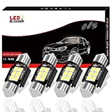 LEDKINGDOMUS 4 Pcs 36mm 1.5 Inch 6 SMD 3030 Canbus Error Free Festoon LED Bulb for Interior Car Lights Dome Map License Plate Trunk Light 6411 6413 6418 DE3423, Color White