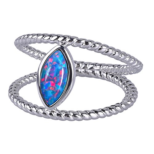 KELITCH Sterling-Silver Created Opal Anniversary Wedding Double Line Ring for Lovers, Evil Eye - Size 7 (Double Created Opal Ring)