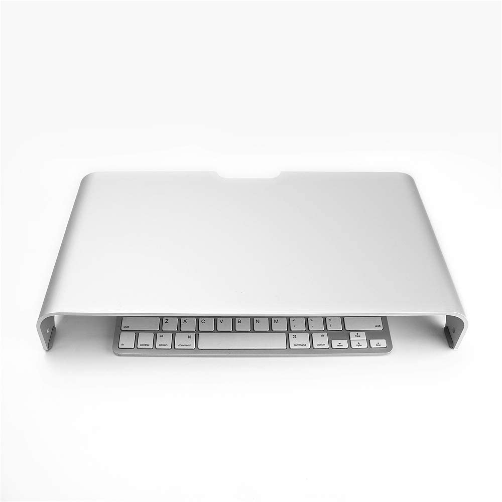 Vaydeer Aluminum Monitor Stand Computer Riser Universal Metal Desktop Stand Base up to 27 inches Screens for PC, Laptop, iMac, Mac, MacBook with Storage Space for Magic Keyboard & Mouse(Silver)