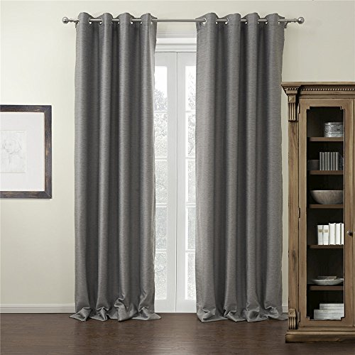 IYUEGO Modern Grey Curtain Solid Grommet Top Blackout Curtain Draperies With Multi Size Customs 50