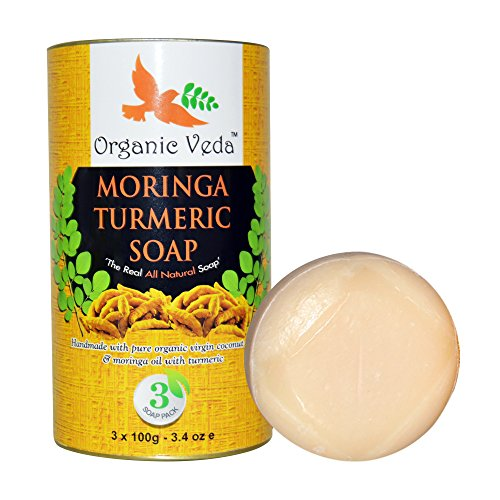 Organic-Moringa-Turmeric-Soap-Handmade-The-Real-All-Natural-Soap-3-Packs-by-Organic-Veda