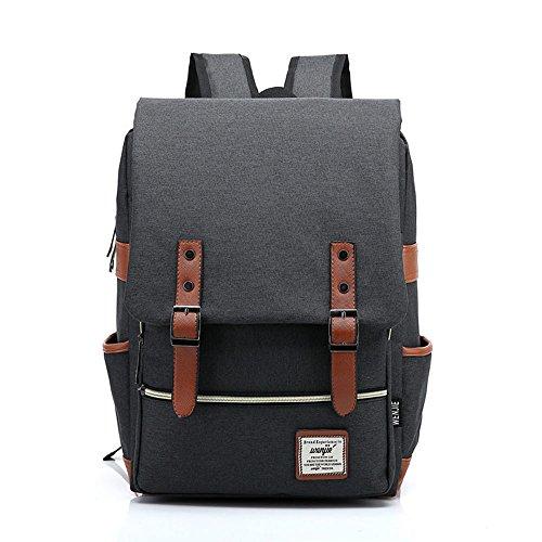 Vintage Canvas Backpack Laptop for Men Casual Bookbag for College (Blue) - 5