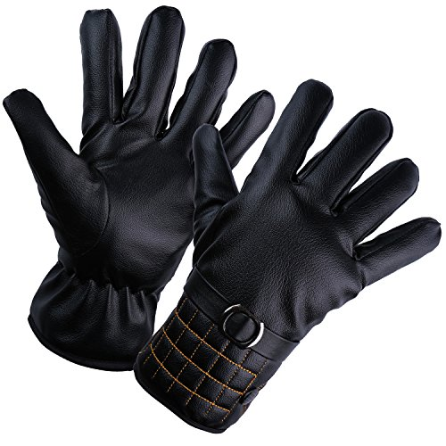 YQXCC Winter Men's Leather Gloves Touch Screen Outdoor Sports Cycling Windproof Warm Gloves