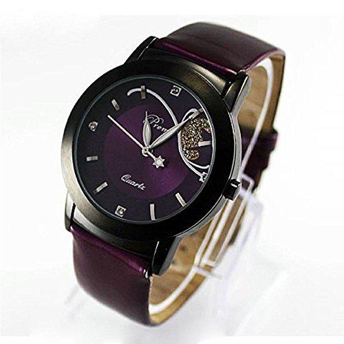 Pocciol Women Leather Luxury Diamond Pretty Quartz Wrist Cool Watch (Purple) ()