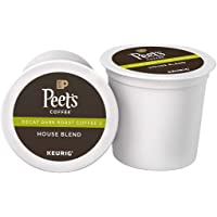 Peet's Coffee Decaf House Blend, Dark Roast, 16 Count Single Serve K-Cup Decaffeinated Coffee Pods for Keurig Coffee Maker