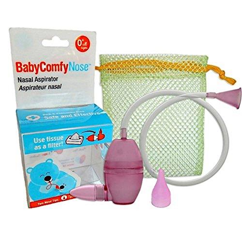 BabyComfy Nasal Aspirator -- The Snotsucker -- Hygienically & Safely Removes Baby's Nasal Mucus - Magenta