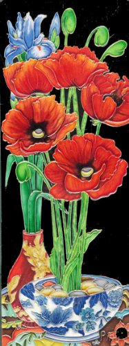 Continental Art Center KD-052 6 by 16-Inch Red Poppy Flower in a Vase Ceramic Art Tile