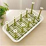 AUCH New/Durable Square Shaped Petal Design High Quality Plastic Mug/Cup/Glass Bottle/Dish/Plate Organizer Tree Drying Rack Stand with Storage Plate,Green