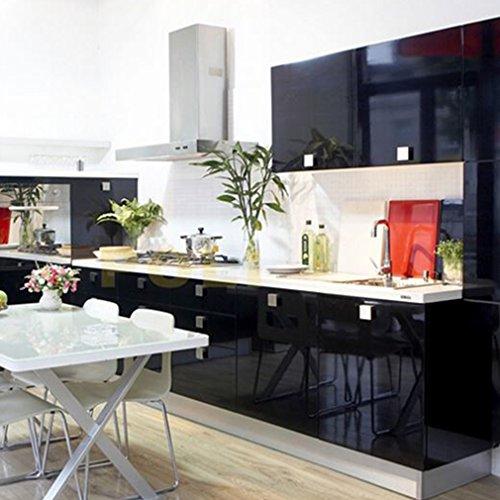Hot ARUHE® Hochwertig Küchenschrank-Aufkleber PVC Selbstklebend Tapeten Rollen für Möbel/Küche/Badezimmer 0.61 * 5M Aufkleber Folie Möbel/Schrank Tür Papier für Wandplakate,Schwarz