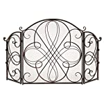 Best Choice Products 3-Panel Wrought Iron Metal Fireplace Safety Screen Decorative Scroll Spark Guard Cover - Black from Best Choice Products