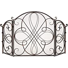 Best Choice Products 3-Panel Wrought Iron Metal Fireplace Safety Screen Decorative Scroll Spark Guard Cover - Black