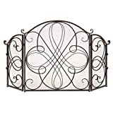 Best Choice Products 3-Panel Solid Wrought Iron See-Through Metal Fireplace Safety Screen Protector Decorative Scroll Spark Guard Cover - Black