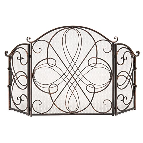 Best Choice Products 3Panel 55x33in Solid Wrought Iron SeeThrough Metal Fireplace Screen Spark Guard Safety Protector w/Decorative Scroll Antique Copper Finish