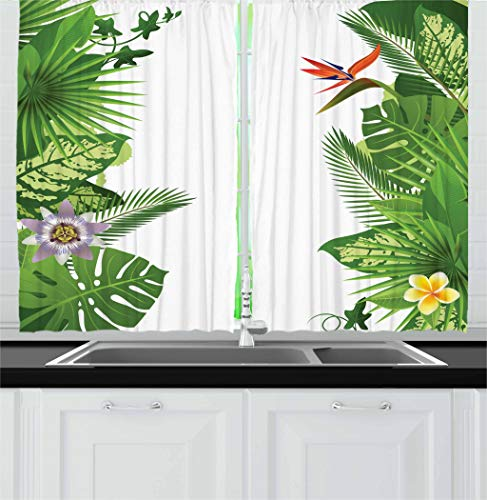 Ambesonne Tropical Kitchen Curtains, Lush Growth Rainforest of Hawaii with Frangipani Philodendron Birds of Paradise, Window Drapes 2 Panel Set for Kitchen Cafe, 55 W X 39 L Inches, Multicolor